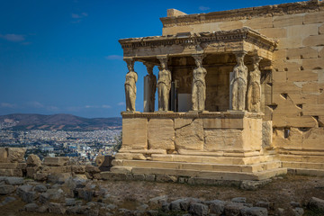 The Porch of the Caryatids at the Erechtheion on the Acropolis of Athens, Greece