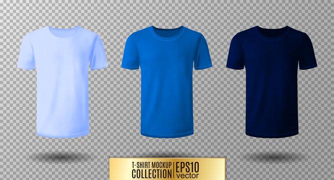 Shirt mock up set. T-shirt template. Light, normal and dark blue version, front design.
