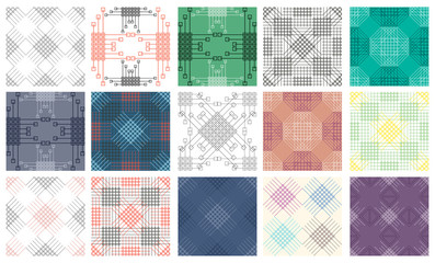 Set of seamless vector geometric colorful patterns with ornamental elements,endless background with classic motifs. Graphic vector illustration. Series of sets of vector seamless patterns.