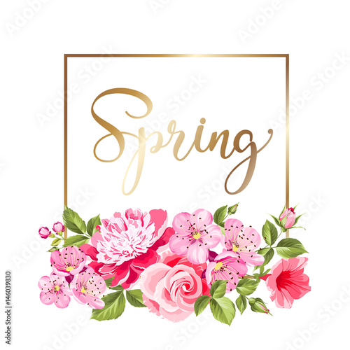 Spring flowers botanical card over white background with flower ...