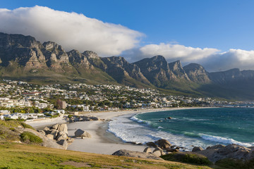View of Camps Bay and 12 Apostles. Cape Town. Western Cape. South Africa.