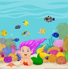 Cartoon mermaid in the underwater background