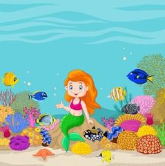 Cute mermaid presenting in the underwater background