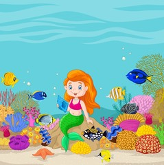 Cartoon underwater world with little mermaid holding seashell