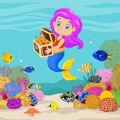 Cute mermaid holding treasure chest in underwater background