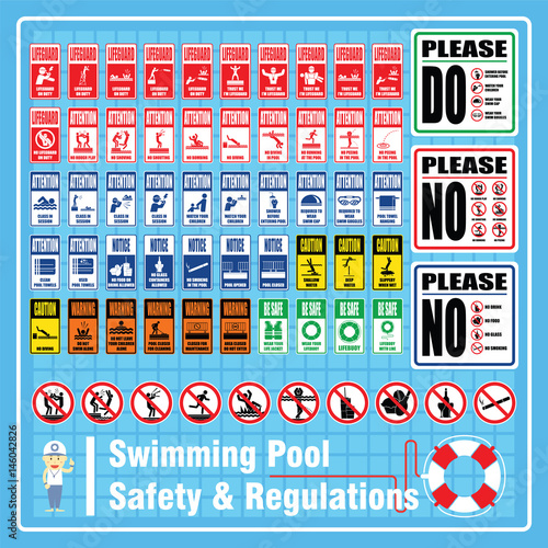 Set Of Labels And Signs Of Swimming Pool Safety Rules And Regulations For Using At Pool Area