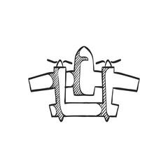 Sketch icon - Vintage airplane