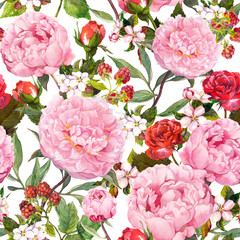 Peony flowers, red roses, sakura. Seamless floral background. Watercolor