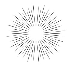 Rays on a white background, linear drawing