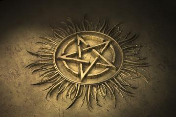 Pentagramm Flamme Gold