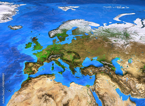 High resolution world map focused on Europe\