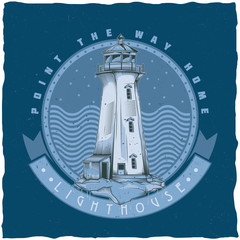 Nautical t-shirt label design with illustration of old lighthouse.