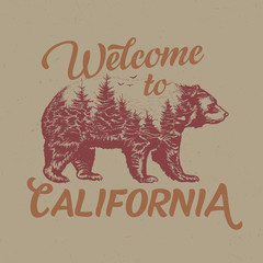 Welcome to California t-shirt label design with illustration of bear silhouette.