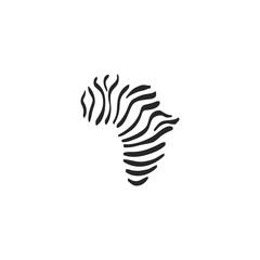Sketch icon - Africa map striped
