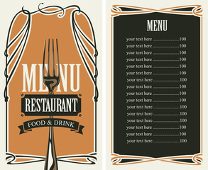 template vector menu for restaurant with price list, fork and curlicues in baroque style