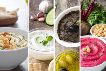 Collage of hummus, tzatziki and tapenade