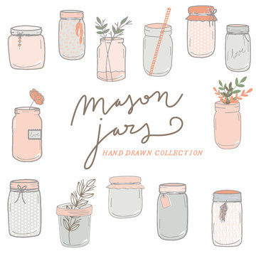 Mason Jars hand drawn collection, flowers, wedding
