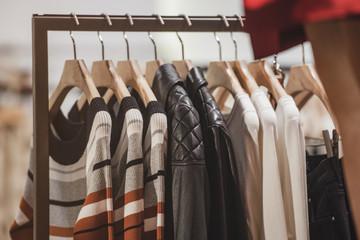Fancy clothing in a women fashion boutique in London.