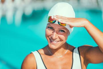Portrait of female swimmer