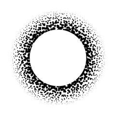 Ring of black dots scattered around. Modern design halftone element. Vector illustration.