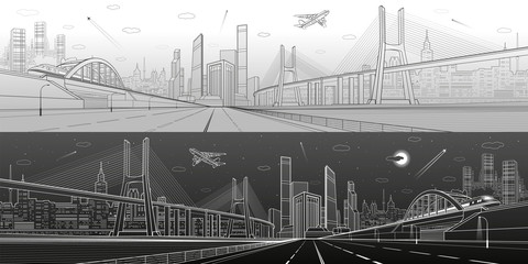 Fototapete - Infrastructure panorama. Large cable-stayed bridge. Train move on the bridge. Airplane fly. Empty highway. Modern city on background, towers and skyscrapers. Day and night version. Vector design art