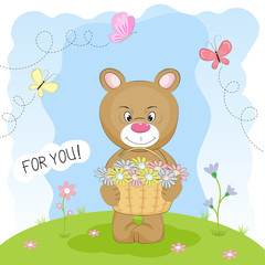 Greeting card bear in the meadow carrying a basket of flowers.