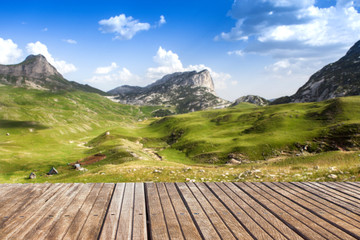 Empty wooden terrace. with mountain landscape