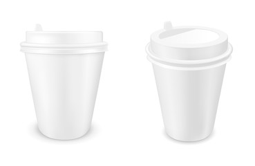 White disposable paper coffee cup