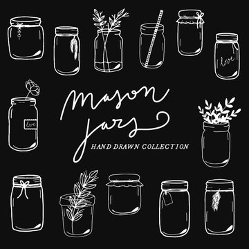 Mason Jars hand drawn collection, flowers, wedding