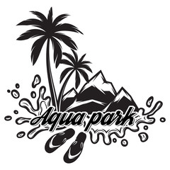 Vector illustration on theme of tourism with palm, mountains, sea waves