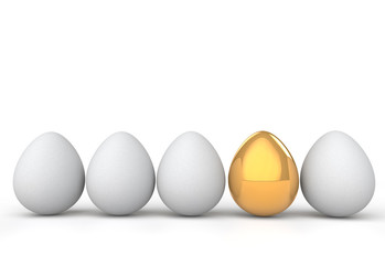 3d rendering of unique golden egg among white ones