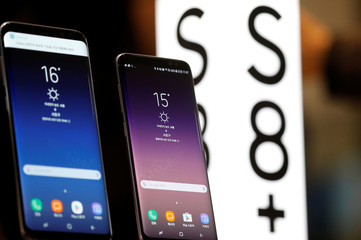 Samsung Electronic's Galaxy S8 and S8+ are displayed at its store in Seoul