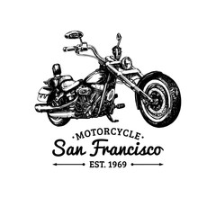 Biker club logo. Vector hand drawn motorcycle. Vintage detailed chopper illustration for custom company, store etc.