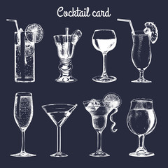 Cocktail card. Hand sketched alcoholic beverages glasses. Vector set of drinks illustrations, vodkatini, champagne etc.