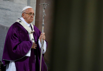 Pope Francis arrives to lead the Ash Wednesday mass at Santa Sabina Basilica in Rome