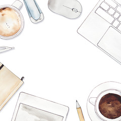 watercolor illustration of workplace on white background