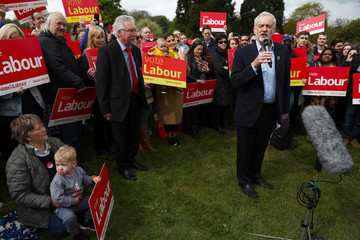 Jeremy Corbyn the leader of Britain's opposition Labour Party speaks during a campaign event in Harlow