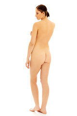 Back view of slim nude woman standing