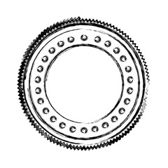 blurred silhouette heraldic circular shape stamp with decorative dots vector illustration