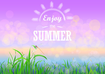 Green grass with bokeh sunset sky. Enjoy summer holidays text on the Floral nature summer spring background.