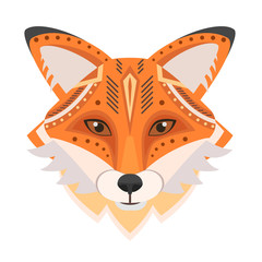 Fox Head Logo. Vector decorative Emblem.