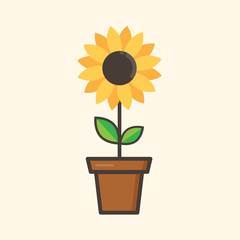 cartoon sunflower in a flowerpot