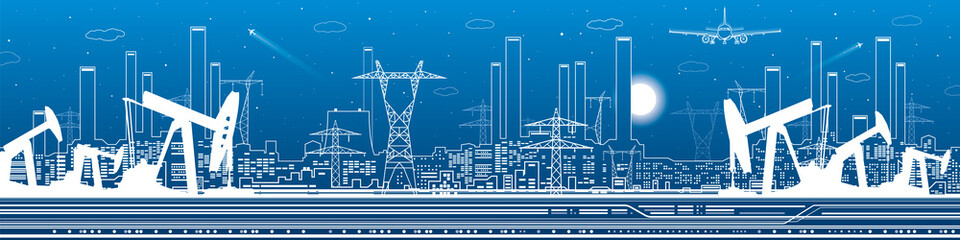 Petroleum and urban panorama, industrial landscape, power plant, vector lines design art