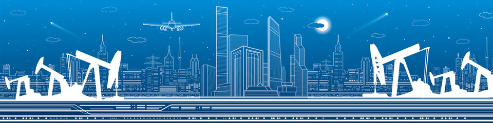 Petroleum and infrastructure panorama, industrial landscape, modern city skyline, vector lines design art