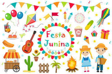 Festa Junina set  icons, flat style. Brazilian Latin American festival,  celebration of traditional symbols. Collection of design elements, isolated on white background. Vector illustration, clip-art
