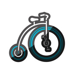 color silhouette with penny farthing with blue wheels vector illustration