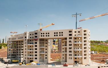 Miniature of  buildings construction, at Mini Israel - a miniature park located near Latrun