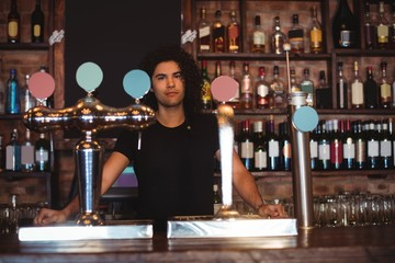 Male bar tender at bar counter