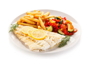 Fried fish fillet with french fries