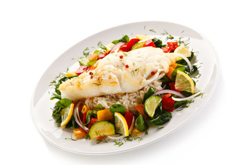 Roast fish with white rice